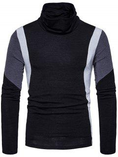 Turtle Neck Slim Fit Color Block Panel Knitted Sweater - Black L