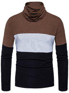 Turtle Neck Slim Fit Color Block Knitted Sweater - Black S