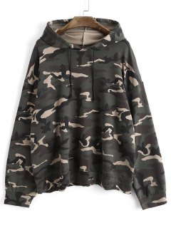 Drawstring Oversized Camouflage Hoodie - Army Green
