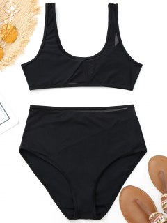 Mesh Insert High Waisted Sports Bikini - Black S