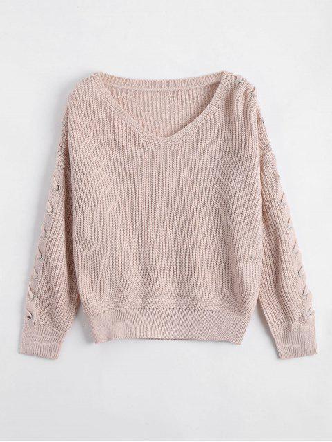 Pullover mit V-Ausschnitt und Schnürsenkel an den Ärmel - hell Aprikose pink  Eine Größe Mobile