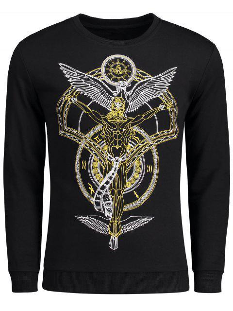 Sweat-shirt à Motif Ras du Cou - Noir 2XL Mobile