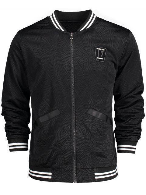 hot Badge Patched Baseball Jacket - BLACK 3XL Mobile