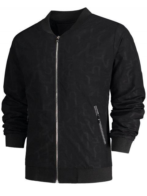 fashion Zipper Pocket Letter Bomber Jacket - BLACK 3XL Mobile