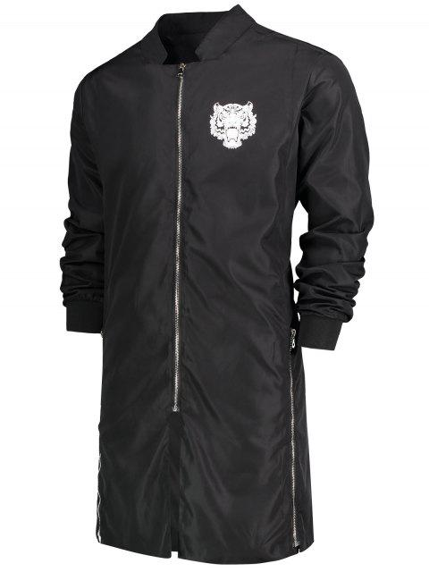 new Zippered Graphic Longline Coat - BLACK XL Mobile