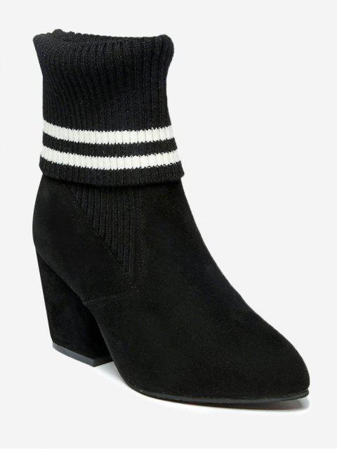 trendy Pointed Toe Mid Heel Striped Boots - BLACK 38/7 Mobile