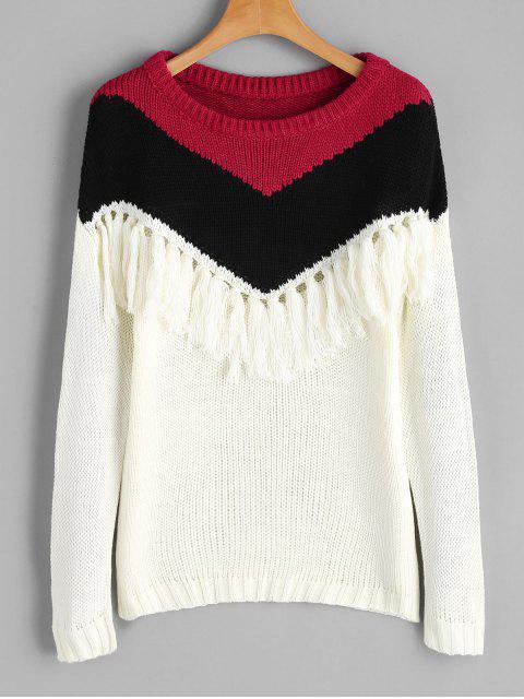 Kontraster-Pullover mit Drop-Schulter und Quasten - Multi Eine Größe Mobile