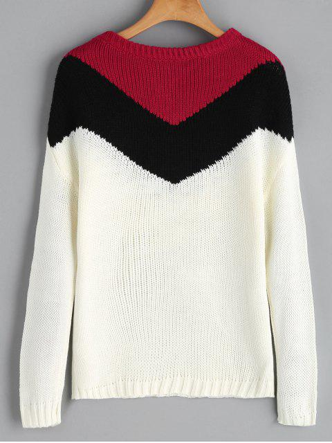 outfit Drop Shoulder Tassels Contrast Sweater - MULTI ONE SIZE Mobile