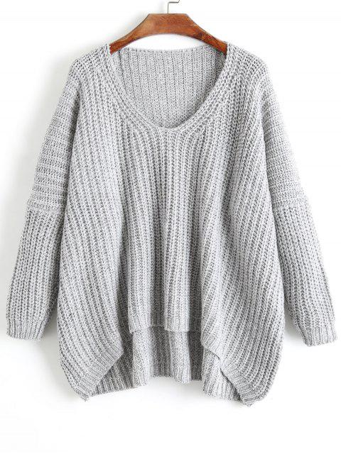 shop Chunky V Neck Oversized Sweater - GRAY ONE SIZE Mobile