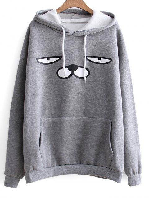 women Oversized Drawstring Cartoon Hoodie - GRAY ONE SIZE Mobile