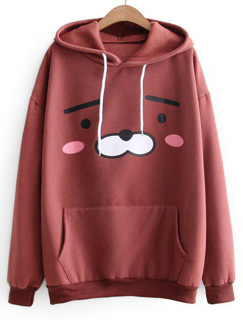 women's Oversized Drawstring Cartoon Hoodie - BRICK-RED ONE SIZE Mobile
