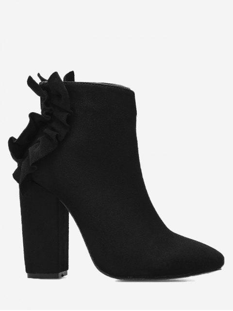 affordable Ruffles Chunky Heel Curve Boots - BLACK 40/8 Mobile