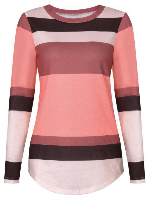 fashion Sequine Patch Color Block Long Sleeve Tee - PAPAYA XL Mobile