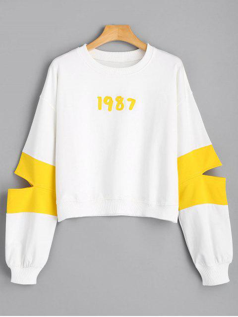 fashion Number Appliqued Cut Out Sweatshirt - WHITE S Mobile