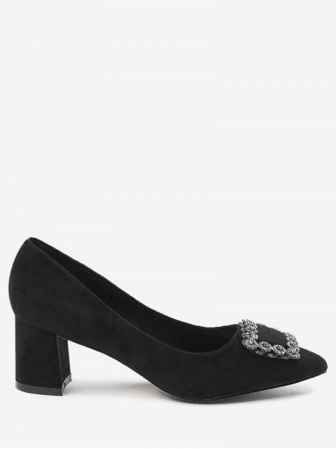 women's Pointed Toe Chunky Heel Rhinestone Pumps - BLACK 39 Mobile