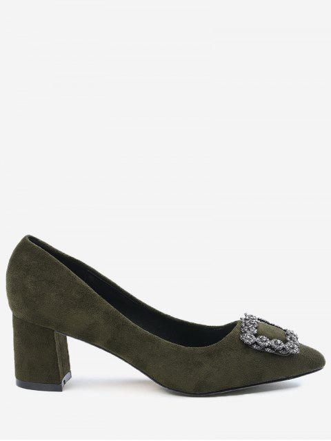 ladies Pointed Toe Chunky Heel Rhinestone Pumps - ARMY GREEN 37 Mobile