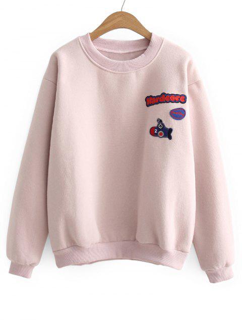 Weites Sport Sweatshirt mit Buchstabe-Flecken - Pink Eine Größe Mobile