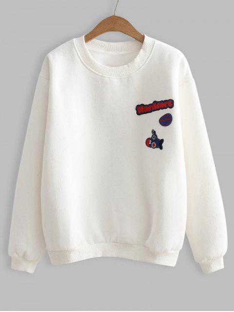 Weites Sport Sweatshirt mit Buchstabe-Flecken - Weiß Eine Größe Mobile