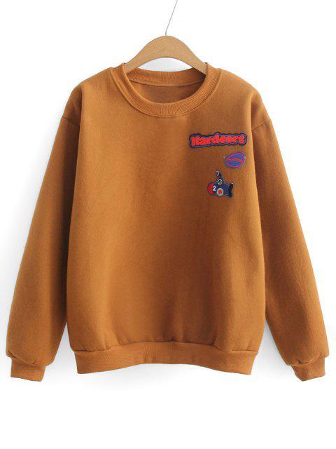Weites Sport Sweatshirt mit Buchstabe-Flecken - Hellbraun Eine Größe Mobile