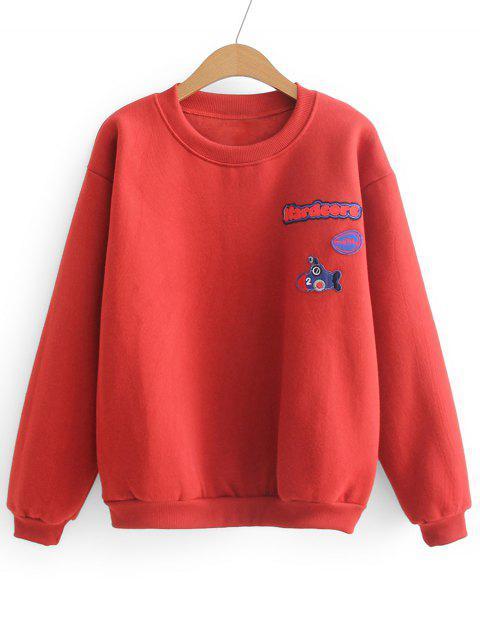 Weites Sport Sweatshirt mit Buchstabe-Flecken - Rot Eine Größe Mobile