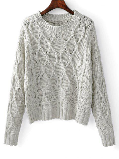Pull à manches longues en tricot torsadé - Gris TAILLE MOYENNE Mobile