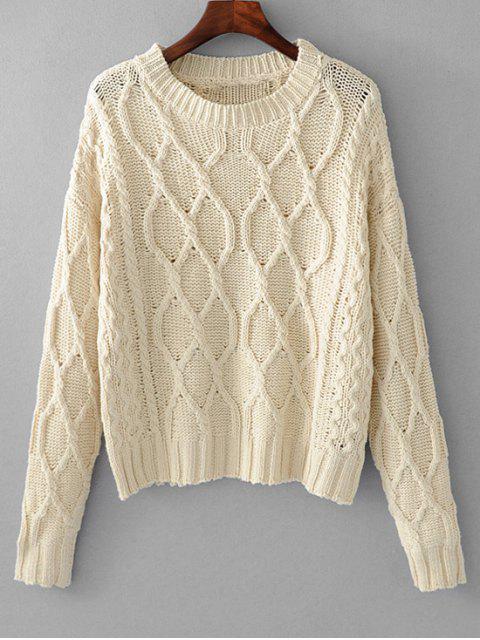 Pull à manches longues en tricot torsadé - Blanc Cassé TAILLE MOYENNE Mobile
