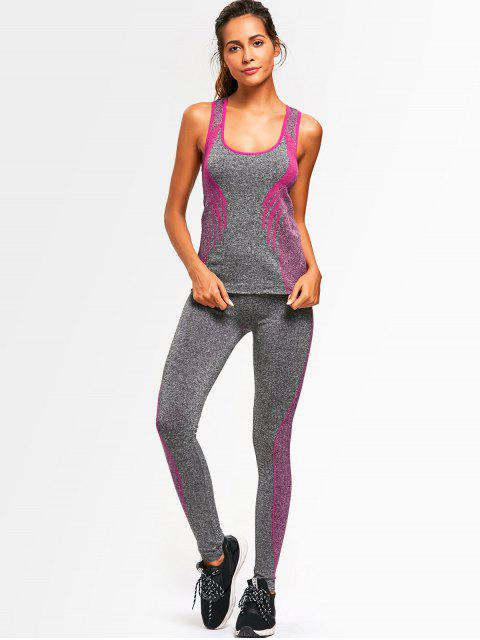latest Racerback Heathered Top with Pants Gym Set - TUTTI FRUTTI ONE SIZE Mobile