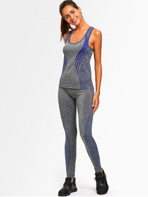 fancy Racerback Heathered Top with Pants Gym Set - BLUE ONE SIZE Mobile