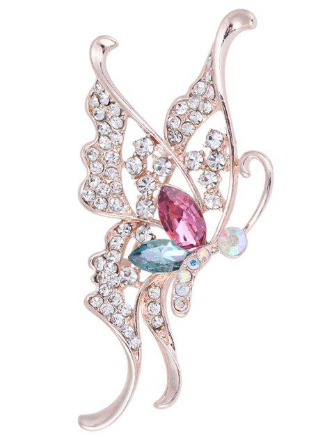 Rhinestone Faux Crystal Butterfly Brooch - COLORIDO  Mobile