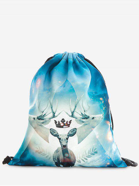 fancy Print Christmas Drawstring Backpack - LIGHT BLUE  Mobile