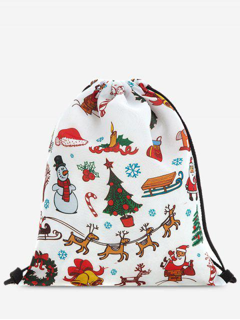 best Print Christmas Drawstring Backpack - RED  Mobile