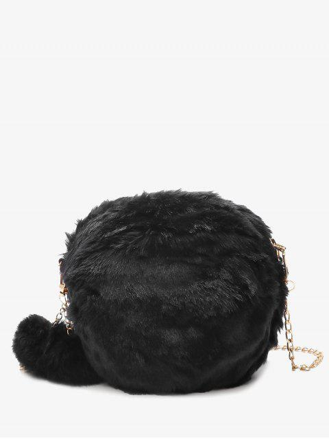 fancy Chain Faux Fur Pompom Crossbody Bag - BLACK  Mobile