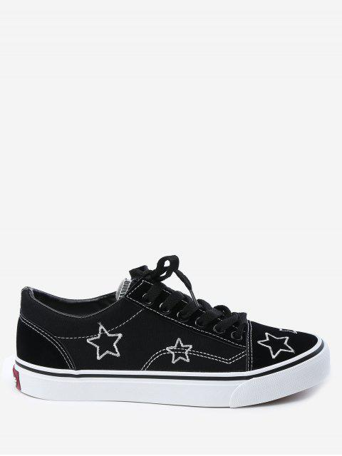 women's Embroidery Canvas Stars Skate Shoes - BLACK 39 Mobile