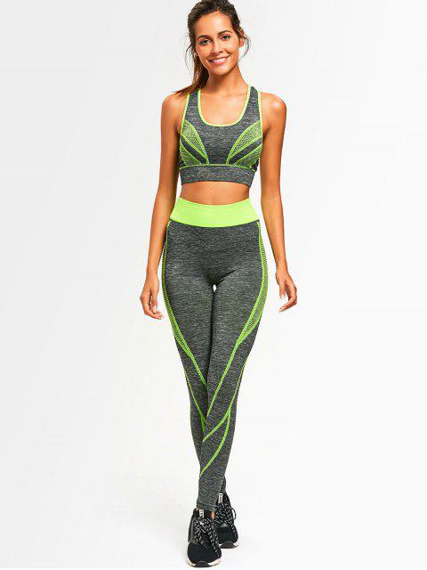 new Two Tone Heathered Racerback Gym Suit - NEON GREEN ONE SIZE Mobile