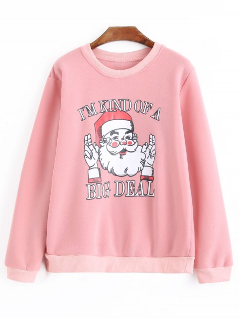 affordable Plus Size Oversized Letter Christmas Sweatshirt - PINK 4XL Mobile