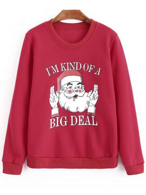hot Plus Size Oversized Letter Christmas Sweatshirt - RED 3XL Mobile