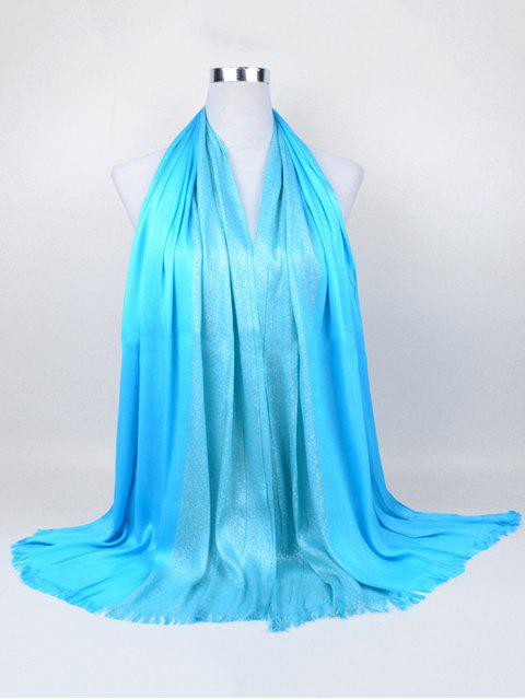 women Soft Spun Gold Tone Long Scarf - WINDSOR BLUE  Mobile