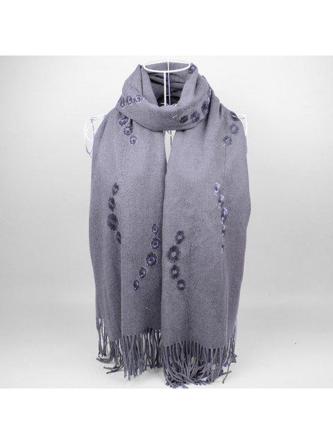 shop Floral Embroidery Fringed Long Scarf - GRAY  Mobile