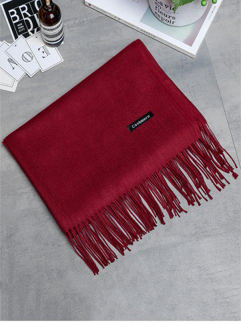 womens Vintage Faux Cashmere Fringed Long Scarf - WINE RED  Mobile