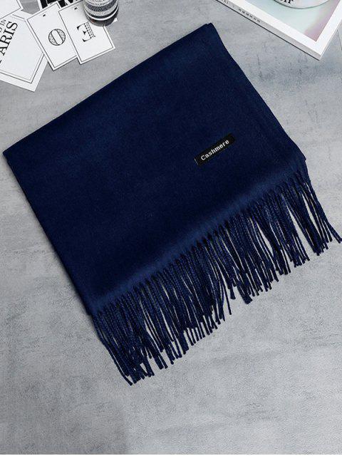 Écharpe Longue en Imitation Cachemire avec Bord Frangé Style Vintage - Bleu Cadette  Mobile