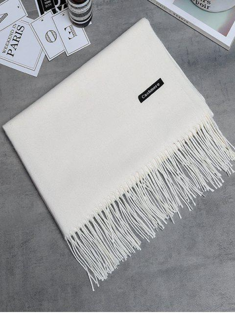 ladies Vintage Faux Cashmere Fringed Long Scarf - CRYSTAL CREAM  Mobile