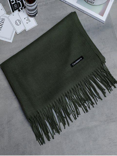 Bufanda larga con flecos de cachemira de imitación vintage - Verde del ejército  Mobile
