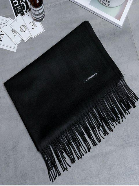 outfit Vintage Faux Cashmere Fringed Long Scarf - BLACK  Mobile