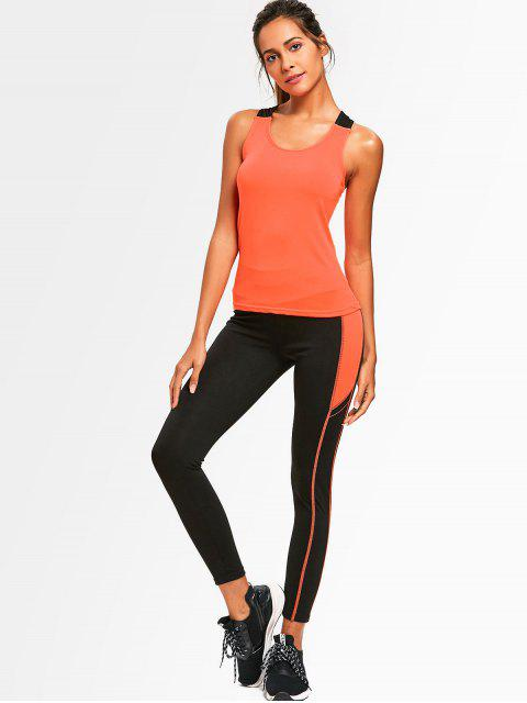 hot Cross Back Two Tone Gym Suit - JACINTH ONE SIZE Mobile