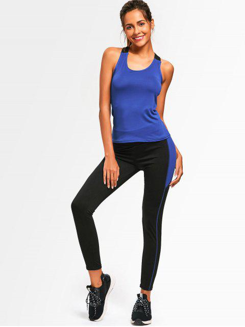 outfits Cross Back Two Tone Gym Suit - BLUE ONE SIZE Mobile