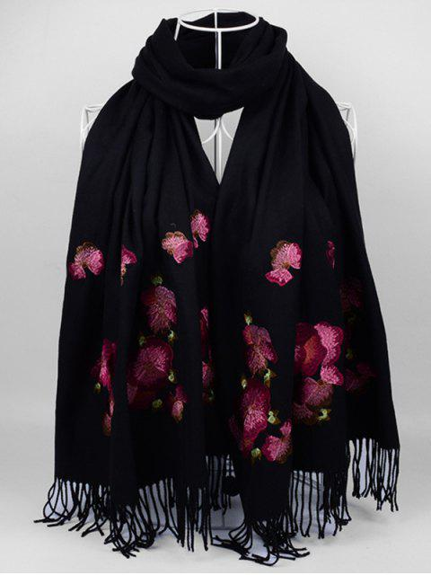 unique Floral Embroidery Ethinc Style Fringed Scarf -   Mobile