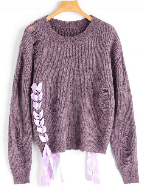 best Lace Up Ripped Sweater - DARK VIOLET ONE SIZE Mobile