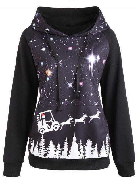womens Raglan Sleeve Starry Sky Print Christmas Hoodie - BLACK 2XL Mobile