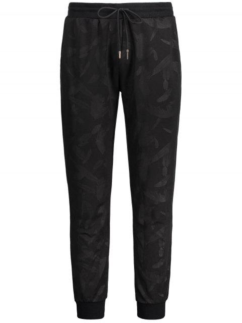 unique Feather Print Drawstring Jogger Pants - BLACK 2XL Mobile