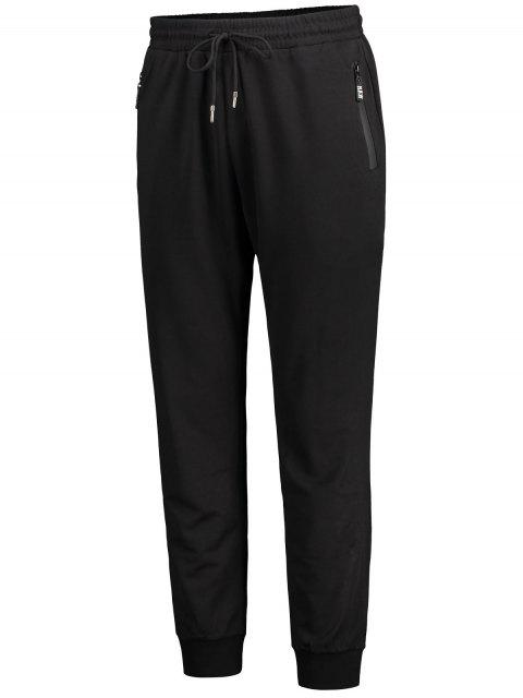affordable Zip Pocket Drawstring Jogger Pants - BLACK 4XL Mobile